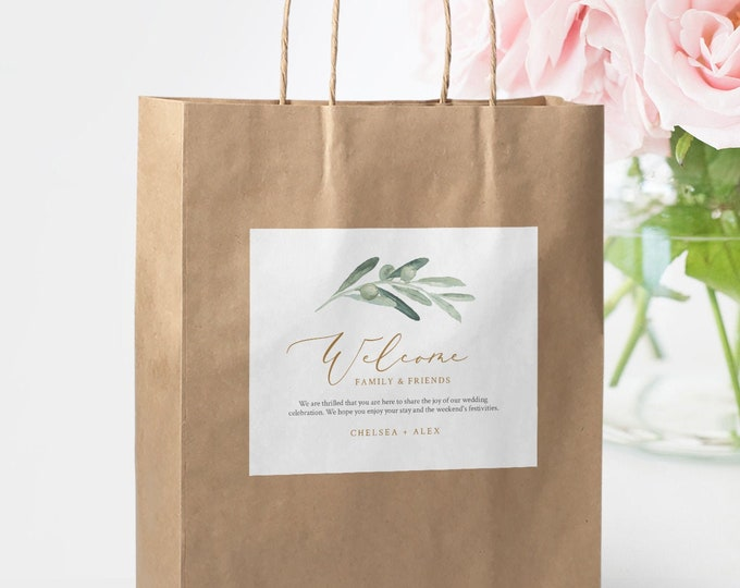 Welcome Bag Label Template, Olive Greenery Welcome Box Sticker, INSTANT DOWNLOAD, Editable Hotel Bag Printable, Templett #081-111WBL
