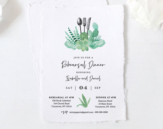 Rehearsal Dinner Invitation INSTANT DOWNLOAD, 100% Editable Template, Printable Wedding Rehearsal Invite, Succulent, Cactus #086-143RD