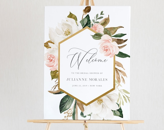 Magnolia Floral Welcome Sign Template, Wedding or Bridal Shower Welcome Sign Poster, Instant Download, Editable Text, Templett #015-151LS
