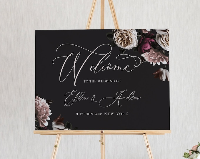 Welcome Sign Template, Moody Boho Florals, Wedding Welcome Poster, Bridal Shower Welcome, 100% Editable Text, Instant Download #009-146LS