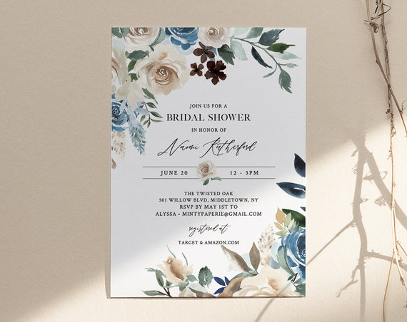 Bridal Shower Invitation, Printable Couples Shower Invite Template, Blue & Cream Florals, INSTANT DOWNLOAD, Editable, Templett #077-226BS