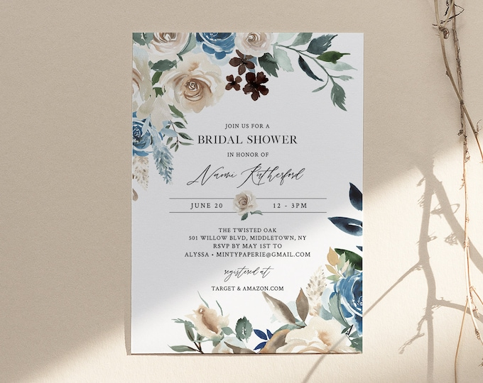 Bridal Shower Invitation, Printable Couples Shower Invite Template, Blue & Cream Florals, INSTANT DOWNLOAD, Editable, Templett #077-226BS