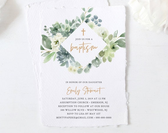 Baptism Invitation Template, Watercolor Succulent and Greenery Invite, Printable, 100% Editable Text, Instant Download, Templett #075-105BC