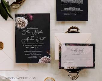 Botanical Wedding Invitation Suite, Moody Florals, 100% Editable Text, Dark Boho Vintage Invite, RSVP and Details, INSTANT DOWNLOAD #009A