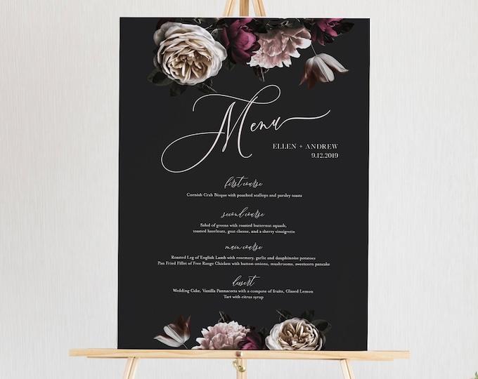 Wedding Menu Sign Template, Dark Moody Floral Menu, Dinner Menu Poster, Bar Menu, 100% Editable Text, INSTANT DOWNLOAD, Templett #009-135WM