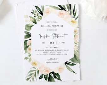 Boho Bridal Shower Invitation Template, Watercolor Cream & Peach Floral and Greenery, Spring Wedding Shower, 100% Editable Text #076-215BS