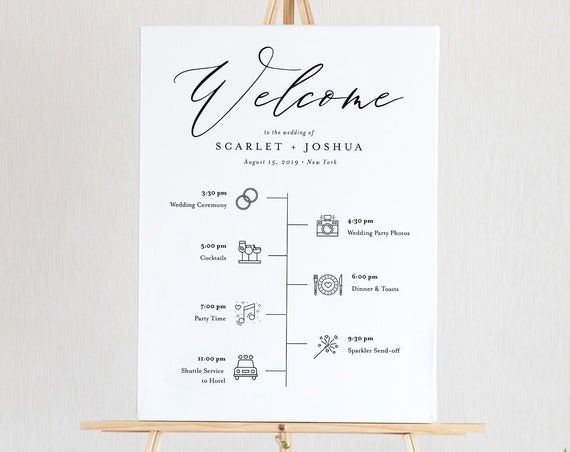 Welcome Sign Template, Printable Timeline with Wedding Day Icons, Instant Download, 100% Editable, Modern, Clean, Templett, DIY #052-141LS