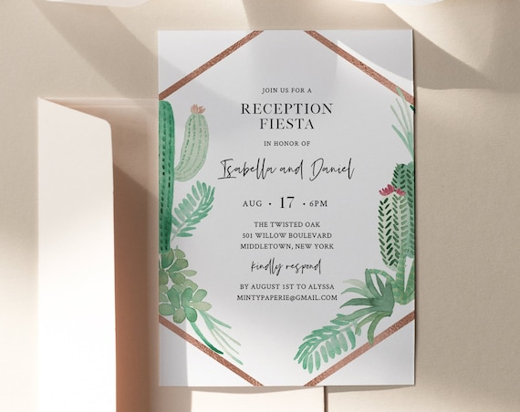 Reception Party Invitation, Succulent Casual Wedding Reception, Editable Template, Printable Elopement Invite, Instant Download #086-111WR