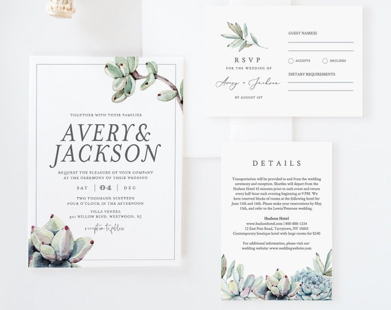 Succulent Wedding Invitation Suite, Rustic Modern Wedding Invite, RSVP, Details Template, 100% Editable Text, Instant Download #048A