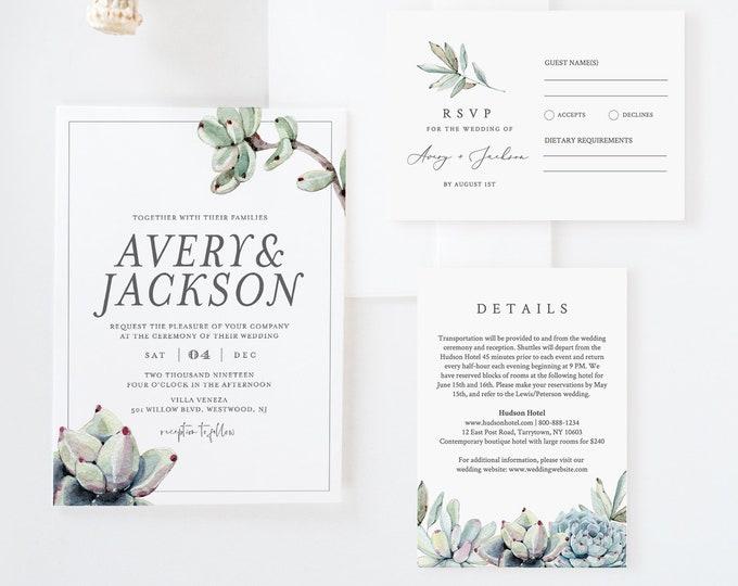 Succulent Wedding Invitation Suite, Rustic Modern Wedding Invite, RSVP, Details Template, 100% Editable Text, Instant Download #048A