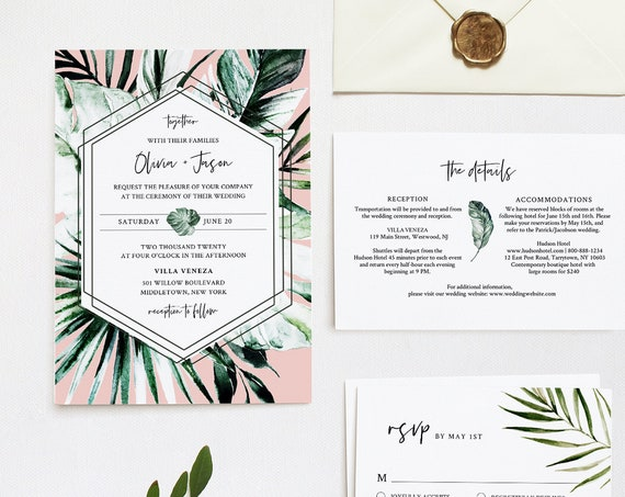 Tropical Wedding Invitation Suite, Editable Template, Beach Destination Wedding Invite, RSVP and Details, INSTANT DOWNLOAD, Templett #087D