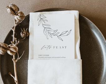 Laurel Menu Template, Printable Minimalist & Fine Art Wedding Dinner Menu Card, 100% Editable, INSTANT DOWNLOAD, Templett #0006B-185WM
