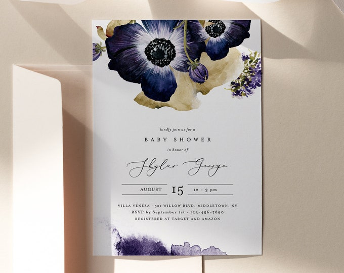 Anemone Baby Shower Invitation, Printable Fall Winter Floral Baby Shower Invite, Editable Template, Instant Download #0014-192BA