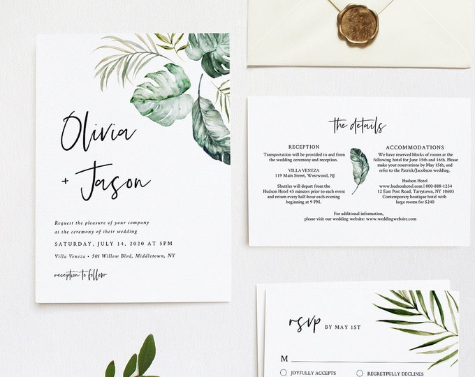 Tropical Wedding Invitation Suite, Editable Template, Minimalist Beach Wedding Invite, RSVP and Details, INSTANT DOWNLOAD, Templett #087C
