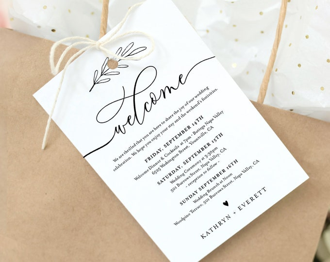 Welcome Bag Tag, Modern Calligraphy Welcome Letter and Itinerary Template, Printable Minimalist Order of Events, INSTANT DOWNLOAD 003-104WBT