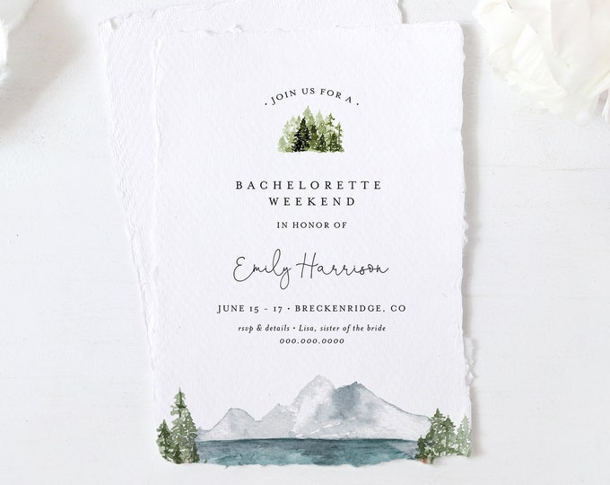Lake Bachelorette Weekend Invitation & Itinerary, Mountain Retreat, Wilderness, Glamping, Resort, Editable Template, Templett #017A-138BP