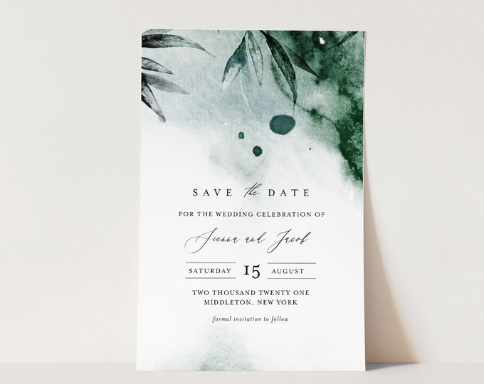 Mystic Waters Save the Date Template,Editable Modern Watercolor Wedding Date, Emerald, Templett, Digital, Instant Download #0002-174SD