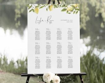 Lemon Seating Chart Poster, Printable Citrus Wedding Seating Sign, Instant Download, Editable Template, Templett, US & UK Sizes #089-258SC