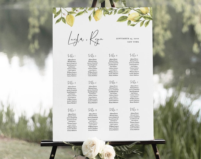 Lemon Seating Chart Poster, Printable Citrus Wedding Seating Sign, Instant Download, Editable Template, Templett, US & UK Sizes #089-258SC