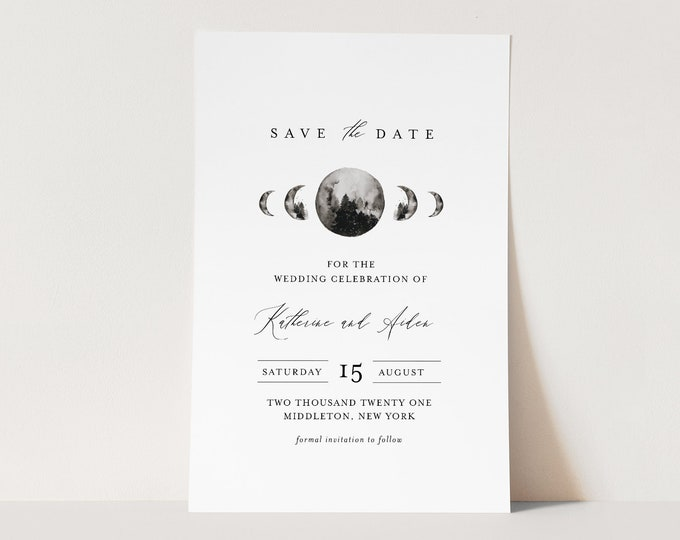 Celestial Save the Date Template, INSTANT DOWNLOAD, Printable Mountain Moon Wedding Date Card, Editable Text, Templett, 4x6 #0003-175SD