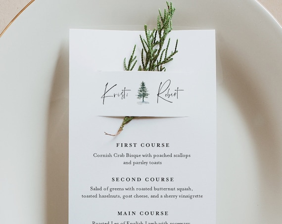 Pine Menu Card Template, Rustic Winter Wedding Menu, Printable DIY Menu, Unique Menu, 100% Editable, INSTANT DOWNLOAD, 3.5x8.5 #073-159WM