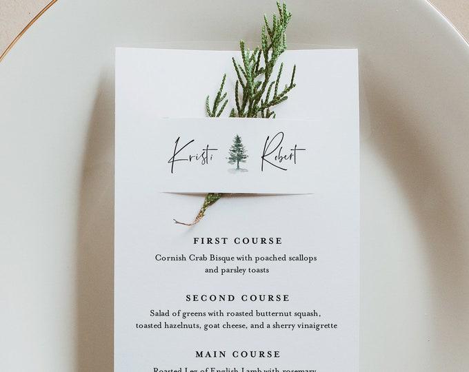 Pine Menu Card Template, Rustic Winter Wedding Menu, Printable DIY Menu, Unique Menu, 100% Editable, INSTANT DOWNLOAD, 3.5x8.5 #073-159WM