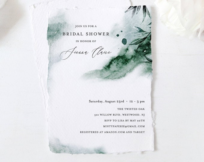 Lake Watercolor Bridal Shower Invitation Template, Mystic Waters Wedding Shower Invite, INSTANT DOWNLOAD, Editable, Printable #0002-268BS
