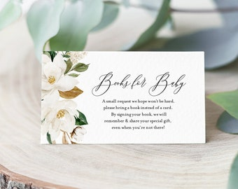 Magnolia Books for Baby Card, Book Request, Baby Shower Invitation Book Insert, 100% Editable Text, INSTANT DOWNLOAD, Templett #015-111BFB