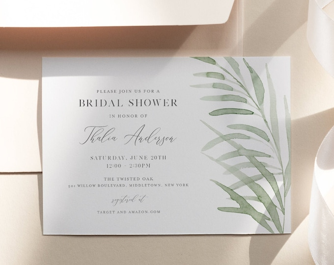 Beach Grass Bridal Shower Invitation Template, Greenery Wedding Shower Invite, Editable Text, Printable, INSTANT DOWNLOAD #0004D-263BS