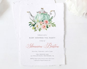 Tea Party Baby Shower Invitation Template, 100% Editable Text, Printable Teapot Baby Shower Invite, Templett, Instant Download #085-147BA