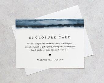 Minimalist Insert card, Wedding Invitation Enclosure, Baby Shower Insert, Editable Details & Info, Instant Download, Templett #093A-154EN