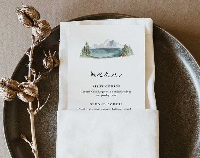 Lake Menu Template, Woodland Mountain Pine, Printable Wedding Dinner Menu Card, 100% Editable Text, INSTANT DOWNLOAD, Templett #017A-167WM