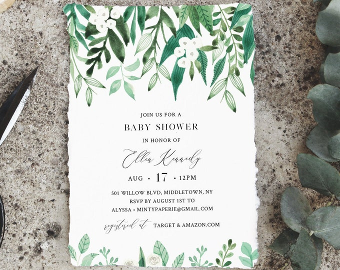 Lush Garden Baby Shower Invitation, Greenery Baby Shower Invite Template, 100% Editable Text, Printable Instant Download, DIY #080A-193BA