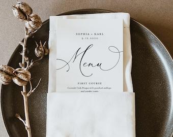 Modern Calligraphy Wedding Menu Printable, INSTANT DOWNLOAD, Minimalist Dinner Menu Card Template, 100% Editable, DIY, Templett #092-162WM