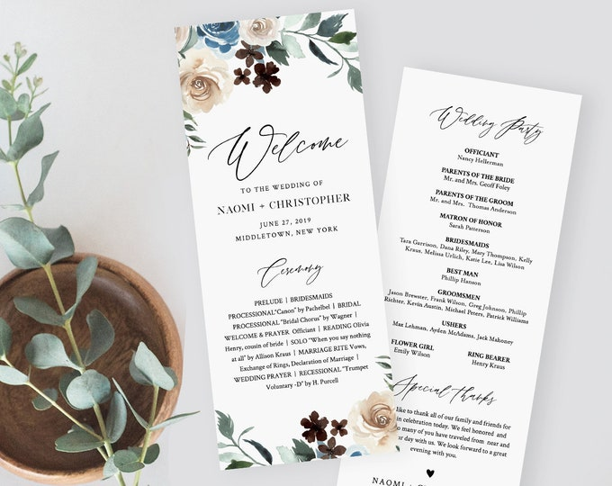 Rustic Floral Wedding Program Template, Blue Rose Printable Order of Service, Ceremony, Instant Download, Editable, Templett #077-221WP