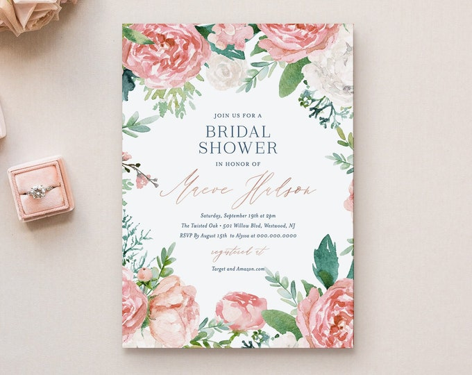 Printable Bridal Shower Invitation Template, Rose Gold & Navy Vintage Floral Wedding Shower Invite, Editable, INSTANT DOWNLOAD #069-210BS