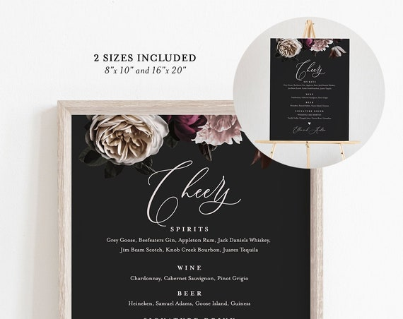 Bar Menu Sign Template, 100% Editable Text, Moody Floral, Printable, DIY Signature Drinks Menu, INSTANT DOWNLOAD, 8x10 & 16x20 #009-101WBM