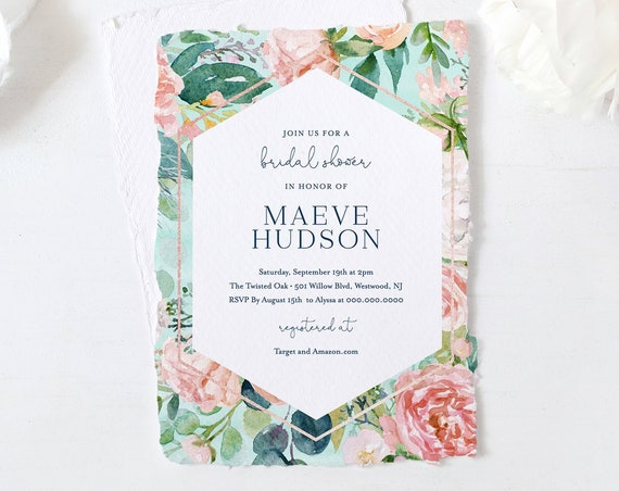 Mint Bridal Shower Invitation Template, Printable Blush Florals & Greenery Wedding Shower Invite, Editable, INSTANT DOWNLOAD #069-228BS