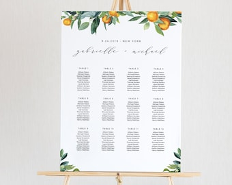Citrus Wedding Seating Chart Template, Printable Orange Blossom & Greenery Seating Sign, 100% Editable Text, INSTANT DOWNLOAD #084-238SC