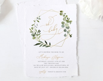 Greenery Baby Shower Invitation Template, INSTANT DOWNLOAD, 100% Editable Text, Printable Oh Baby Shower Invite, DIY, Templett #056-113BA