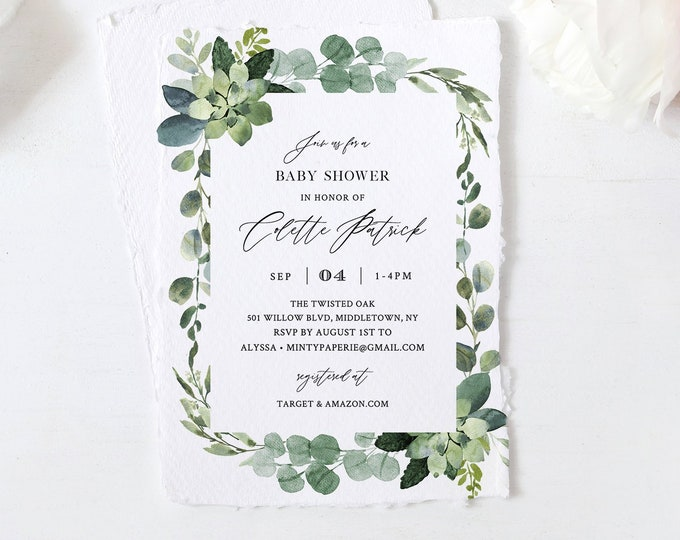 Greenery Baby Shower Invitation Template, Boho Foliage Neutral Baby Shower Invite, 100% Editable Text, INSTANT DOWNLOAD, Templett #082-123BA