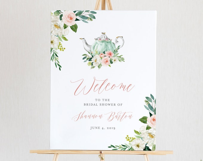 Tea Party Welcome Sign Template, Printable Bridal Tea Shower Welcome Poster, 100% Editable Text, Instant Download, Templett, DIY #085-154LS