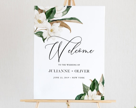 Magnolia Welcome Sign Template, Wedding or Bridal Shower Welcome Sign Poster, Instant Download, 100% Editable Text, Templett #015-150LS