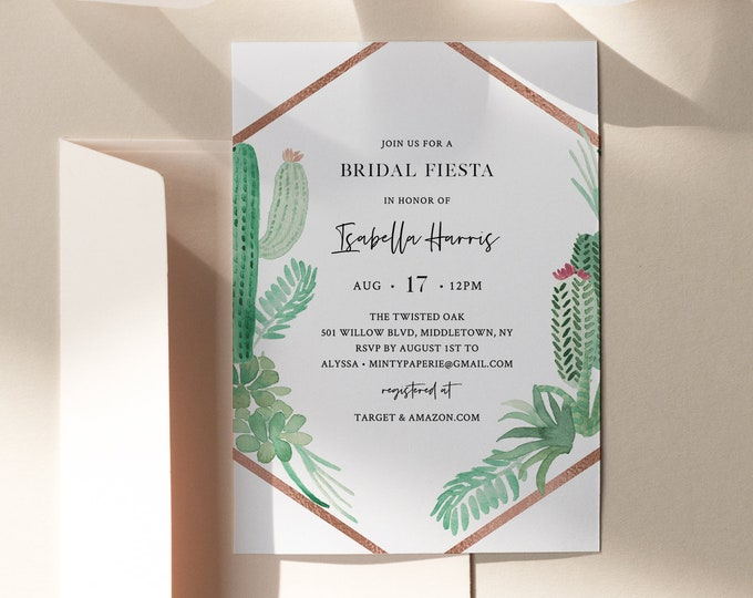 Cactus Bridal Shower Invitation Template, Fiesta Succulent Wedding Shower Invite, 100% Editable Text, Printable, INSTANT DOWNLOAD #086-242BS