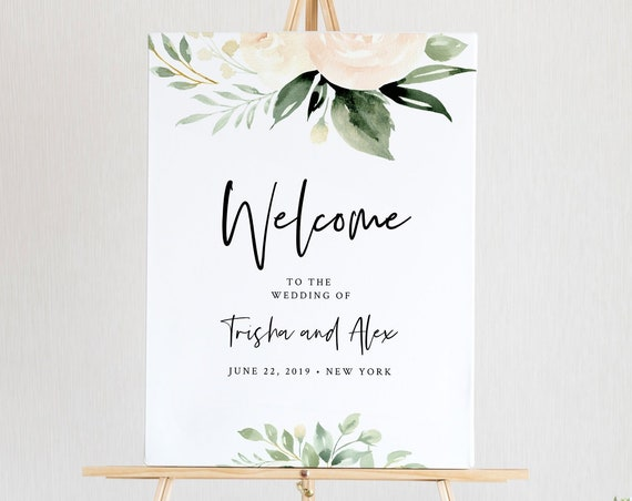 Greenery Welcome Sign Template, Boho Wedding Poster, Bridal Shower Welcome, 100% Editable Text, Instant Download, Templett, DIY #076-148LS