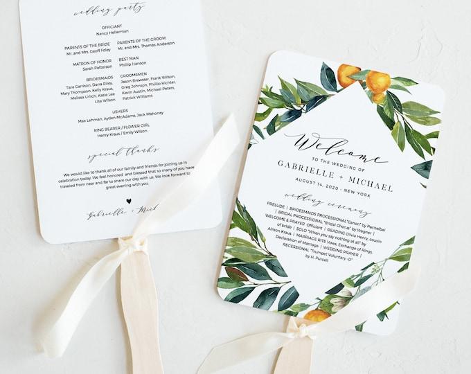 Citrus Fan Wedding Program, Printable Orange Order of Service Template, 100% Editable, INSTANT DOWNLOAD, Fan or Flat Program #084-420WP