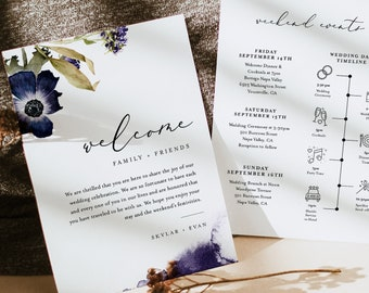 Wedding Welcome Letter & Timeline Template, Floral Wedding Order of Events, Itinerary, INSTANT DOWNLOAD, 100% Editable Text #0014-158WB