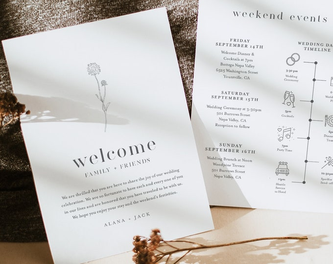 Dandelion Welcome Letter & Timeline Template, Minimalist Wedding Order of Events, Itinerary, INSTANT DOWNLOAD, Editable Text #0006A-151WB