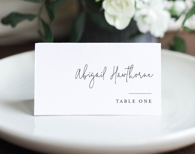 Minimalist Place Card Template, Printable Rustic Wedding Escort Card with Meal Option, INSTANT DOWNLOAD, Editable, Templett #095A-172PC