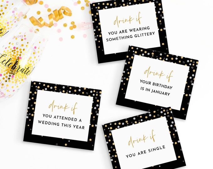 New Year's Drink Game, Printable New Years Eve 2021 Party Game, Drink If You Cards, Editable Template, Instant Download, Templett #106NYG
